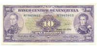 Billete 10 Bolivares 1970 M7 Serial M7865932 - Numisfila