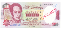 Specimen Billete 1000 Bs Agosto 1991 #03358 - Numisfila