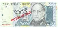 Muestra Sin Valor Billete 2000 Bs Octubre 1998 #0273 - Numisfila