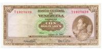 Billete 100 Bolivares 1967 T7 Serial T1927639 - Numisfila
