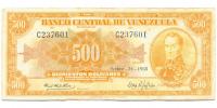 Billete Canario 500 Bolívares Septiembre 1968 C6 Serial C237601 - Numisfila