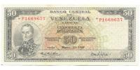 Billete 50 Bolívares 1969 P7 Serial P1669657 - Numisfila