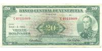 Billete 20 Bolívares 1964 C7 Serial C4011009 - Numisfila