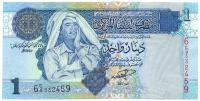 Billete Libia 1 Dinar 2002/4 Gadafi - Numisfila
