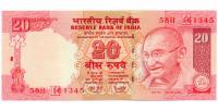 Billete India 20 Rupees 2008 Mahatma Gandhi - Numisfila