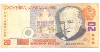 Billete Peru 20 Nuevos Soles 2004 Raul Porras Barrenechea  - Numisfila