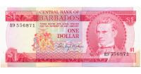 Billete Barbados 1 Dolar 1973  - Numisfila