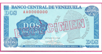 Especimen Billete 2 Bolívares AA7 1989 Tinoquito - Numisfila