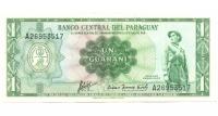 Billete Paraguay 1 Guarani 1952 - Numisfila