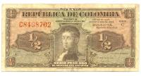 Billete de Colombia 1/2 Peso Oro 1953, Antonio Nariño - Numisfila