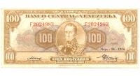 Billete 100 Bolívares Mayo 1956 F7 Serial F2024983 - Numisfila