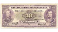 Billete 10 Bolívares 1960 D7 Serial D4131954 - Numisfila