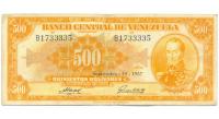 Billete 500 Bolivares Sept 1957 B1733335 Canario - Numisfila