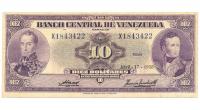 Billete 10 Bolivares 1958 X7 Serial X1843422 - Numisfila