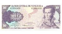 Billete 10 Bolívares 1980 A7 Serial A1004400 Conmemorativo - Numisfila