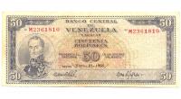 Billete 50 Bolívares 1966 M7 Serial M2361810 - Numisfila