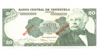 Muestra Muestra Billete 20 Bolivares 1979 - Numisfila