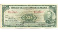 Billete 20 Bolívares 1964 D7 Serial D5835443 - Numisfila