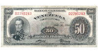 Billete 50 Bolívares Abril 1956 D7 Serial D2795243 - Numisfila