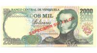 Espécimen Sin Valor Billete 2000 Bs Febrero 1998 #1554 - Numisfila