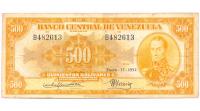 Billete 500 Bolívares Enero 1952 B6 Serial B482613 - Numisfila