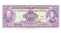 Billete 10 Bolívares 1974 X8 Serial X11192524 - Numisfila