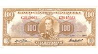 Billete 100 Bolívares 1960 K7 Serial K2945663 - Numisfila