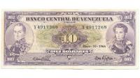 Billete 10 Bolívares 1966 X7 Serial X4917268 - Numisfila