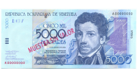 Billete Muestra Sin Valor 5000 Bolivares 2002 #0919 - Numisfila