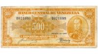 1er Anaranjado Billete 500 Bolívares Agosto 1947 B6 Serial B071699 - Numisfila