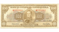 Billete 100 Bolivares 1962 M7 Serial M1252311 - Numisfila
