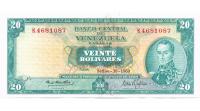 Billete 20 Bolívares 1969 K7 Serial K4681087  - Numisfila