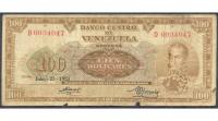 Billete Orejon 100 Bolivares 1953 D7 Serial D0034047 - Numisfila