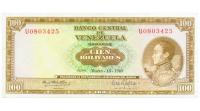Billete 100 Bolívares 1969 U7 Serial U0803425 - Numisfila