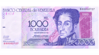 Billete 1000 Bolivares Sept 1998 B8 Serial B00002727 - Numisfila