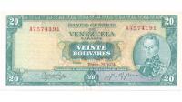 Billete 20 Bolívares Enero 1974 A7 Serial A7574191 - Numisfila