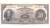 Billete 50 Bolívares 1957 E7 Serial E2919761 - Numisfila