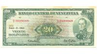 Billete 20 Bolívares 1964 D7 Serial D3699068 - Numisfila