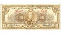 Billete 100 Bolívares 1960 K6 Serial K478327 - Numisfila