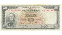 Billete 50 Bolivares 1970 S7 Serial S2541689 - Numisfila