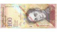 Billete Muestra Sin Valor 100 Bolivares Junio 2015 #147 - Numisfila