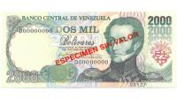 Espécimen Sin Valor Billete 2000 Bs Agosto 1998 #127 - Numisfila