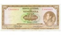 Billete 100 Bolívares 1973 E7 Serial E5045603 - Numisfila