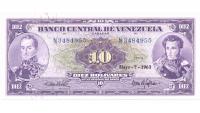 Billete 10 Bolívares 1963 N7 Serial N3484955 - Numisfila