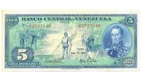 Billete 5 Bolívares 1966 B7 Serial B2723140 - Numisfila
