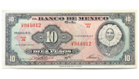 Billete Mexico 10 Pesos 1961 - Numisfila