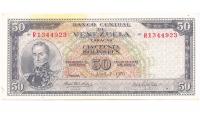 Billete 50 Bolívares 1970 R7 Serial R1344923 - Numisfila