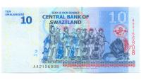 Billete Swazilandia 10 Emalangeni 2010 Mswati III  - Numisfila