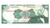 Especimen Sin Valor Billete 20 Bolívares 1974 - Numisfila