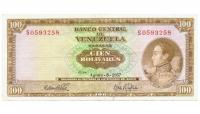 Billete 100 Bolivares 1967 S7 Serial S0593258 - Numisfila